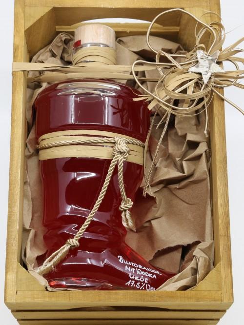 Blutorangen Likör im Weihnachtsmannstiefel in Holzbox